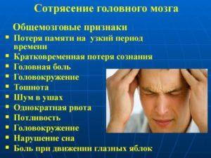 Первые признаки сотрясения головного мозга у взрослых людей
